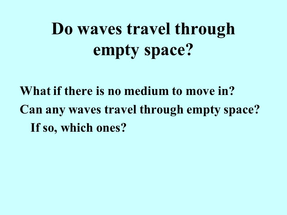 Do waves travel through empty space