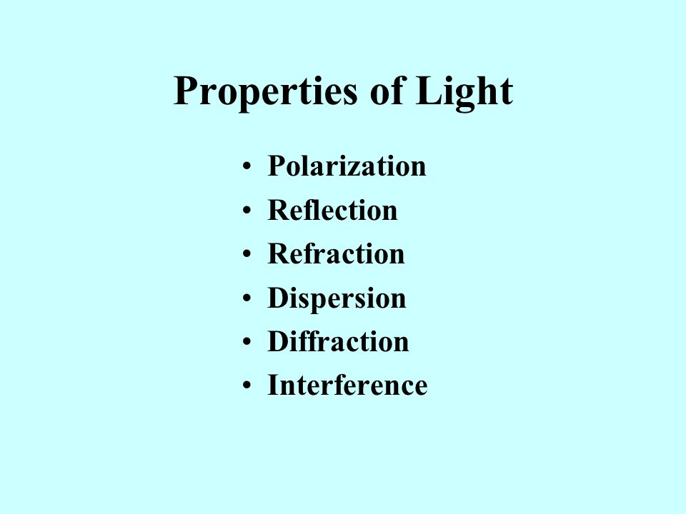 Properties of Light Polarization Reflection Refraction Dispersion