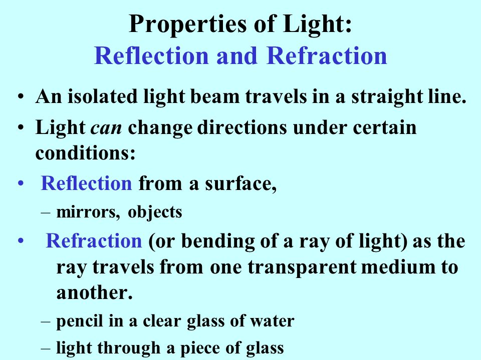 Properties of Light: Reflection and Refraction