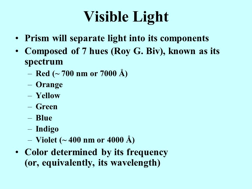 Visible Light Prism will separate light into its components
