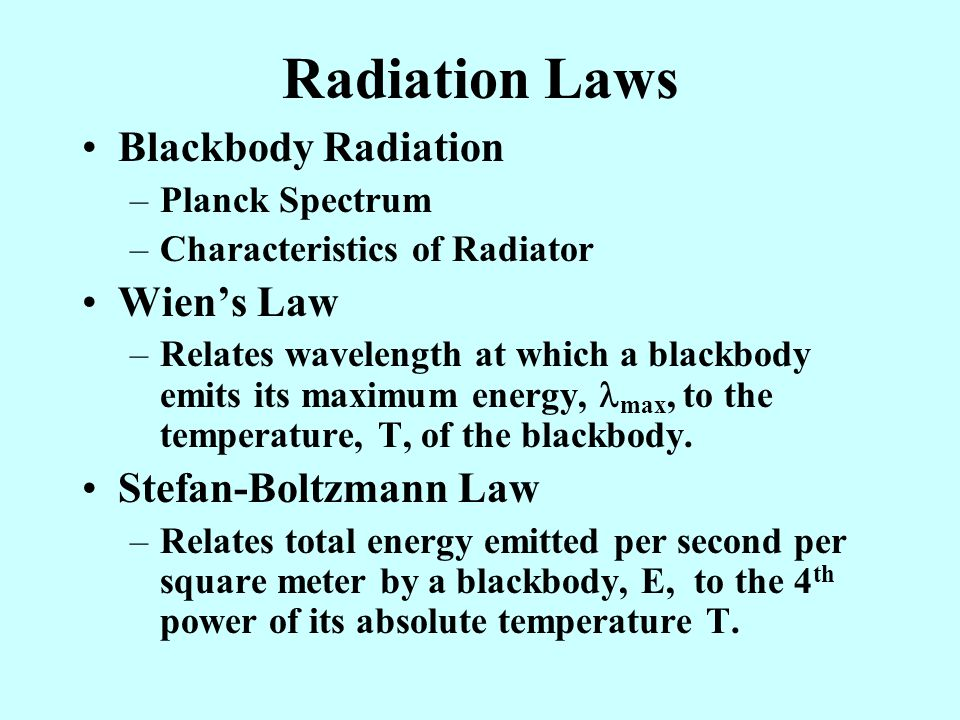 Radiation Laws Blackbody Radiation Wien's Law Stefan-Boltzmann Law