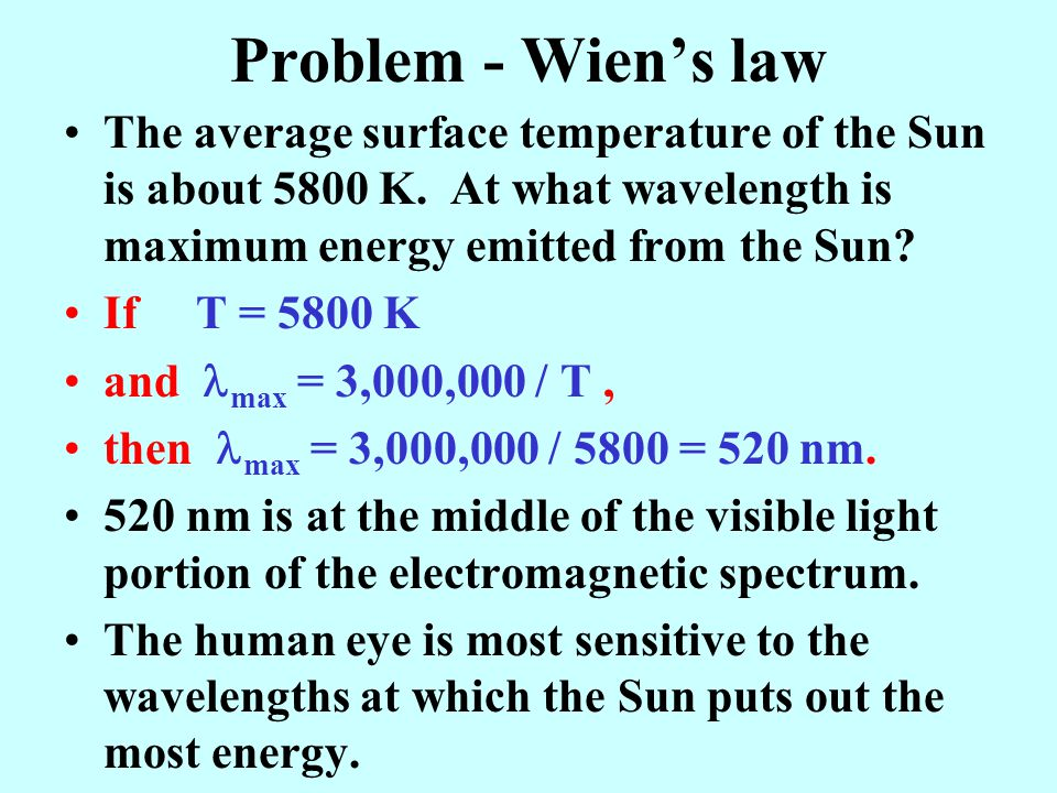 Problem - Wien's law The average surface temperature of the Sun is about 5800 K. At what wavelength is maximum energy emitted from the Sun