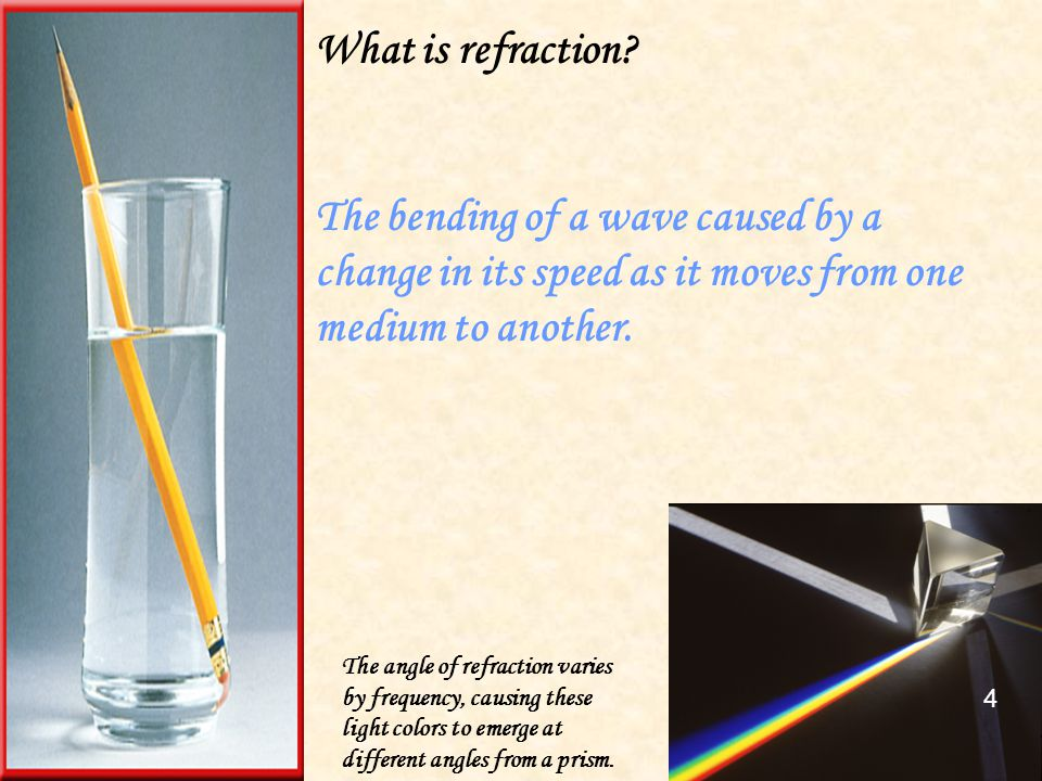 What is refraction The bending of a wave caused by a change in its speed as it moves from one medium to another.