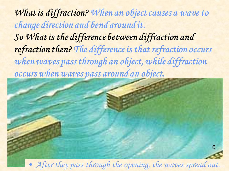 What is diffraction When an object causes a wave to change direction and bend around it.