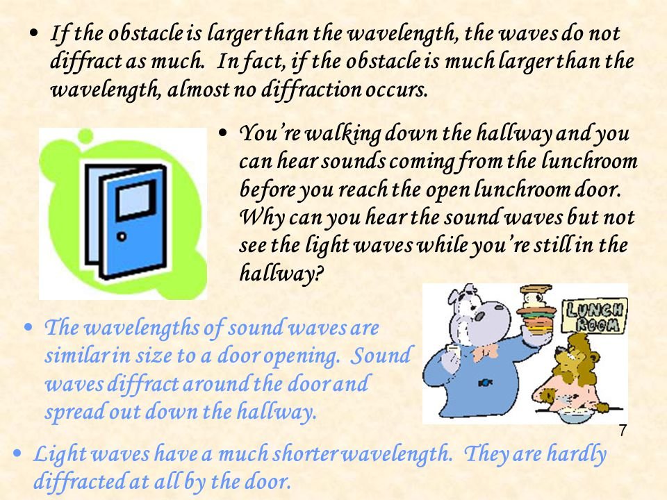 If the obstacle is larger than the wavelength, the waves do not diffract as much. In fact, if the obstacle is much larger than the wavelength, almost no diffraction occurs.