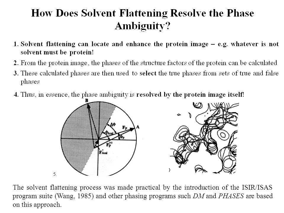 The solvent flattening process was made practical by the introduction of the ISIR/ISAS program suite (Wang, 1985) and other phasing programs such DM and PHASES are based on this approach.