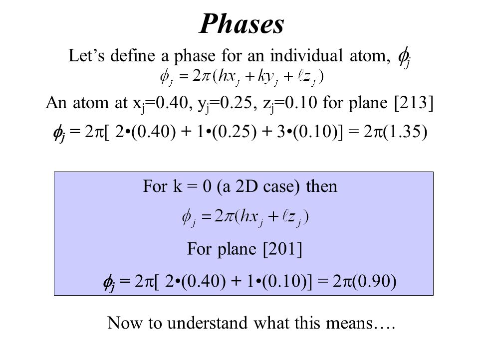 Phases Let's define a phase for an individual atom, fj