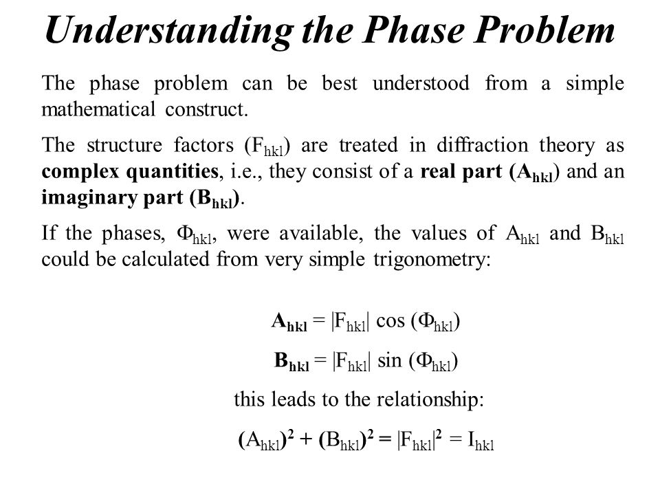 Understanding the Phase Problem