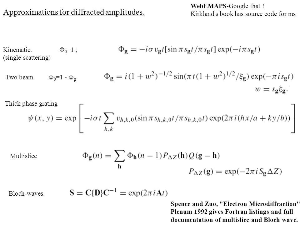 Approximations for diffracted amplitudes.