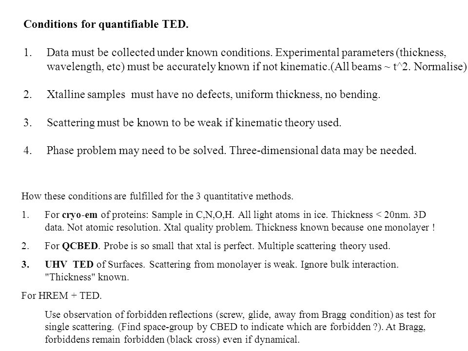 Conditions for quantifiable TED.