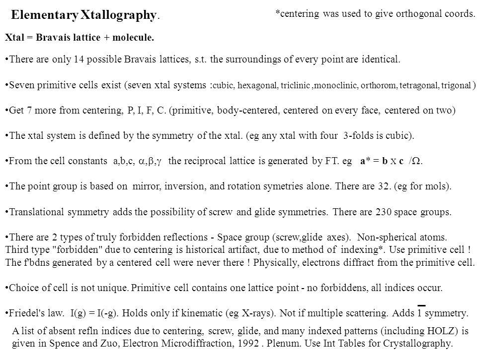 Elementary Xtallography.