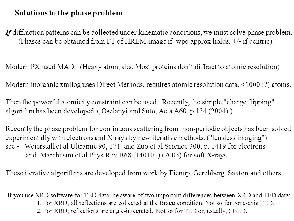 Solutions to the phase problem.