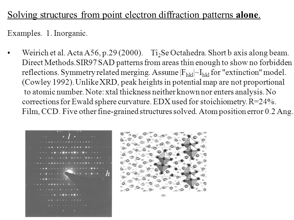 Solving structures from point electron diffraction patterns alone.