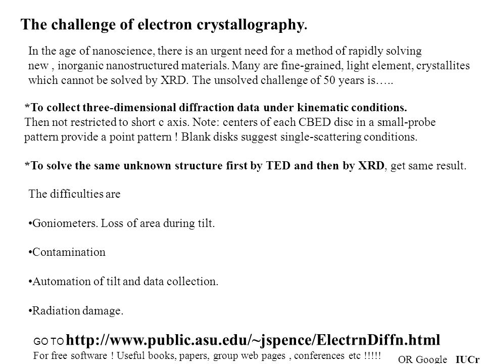 The challenge of electron crystallography.