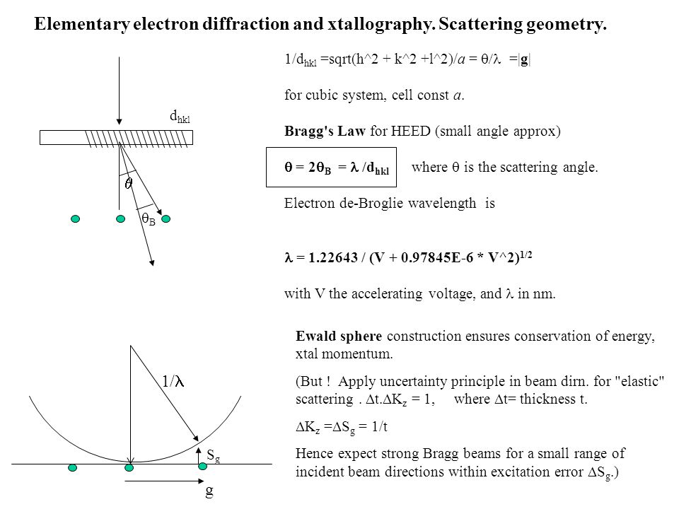 Elementary electron diffraction and xtallography. Scattering geometry.