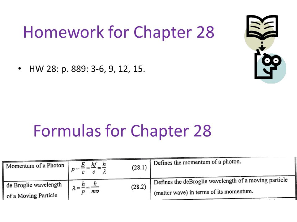 Homework for Chapter 28 Formulas for Chapter 28