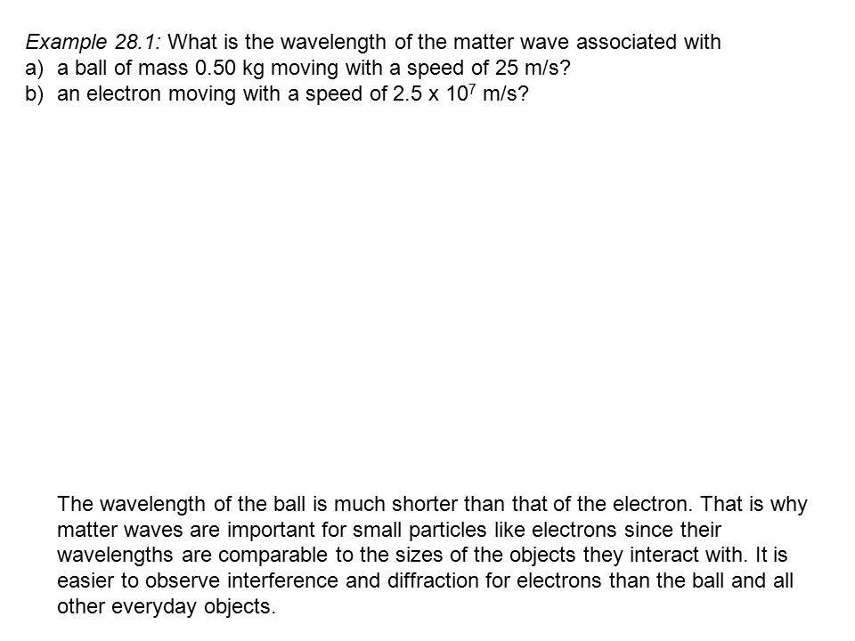 Example 28.1: What is the wavelength of the matter wave associated with