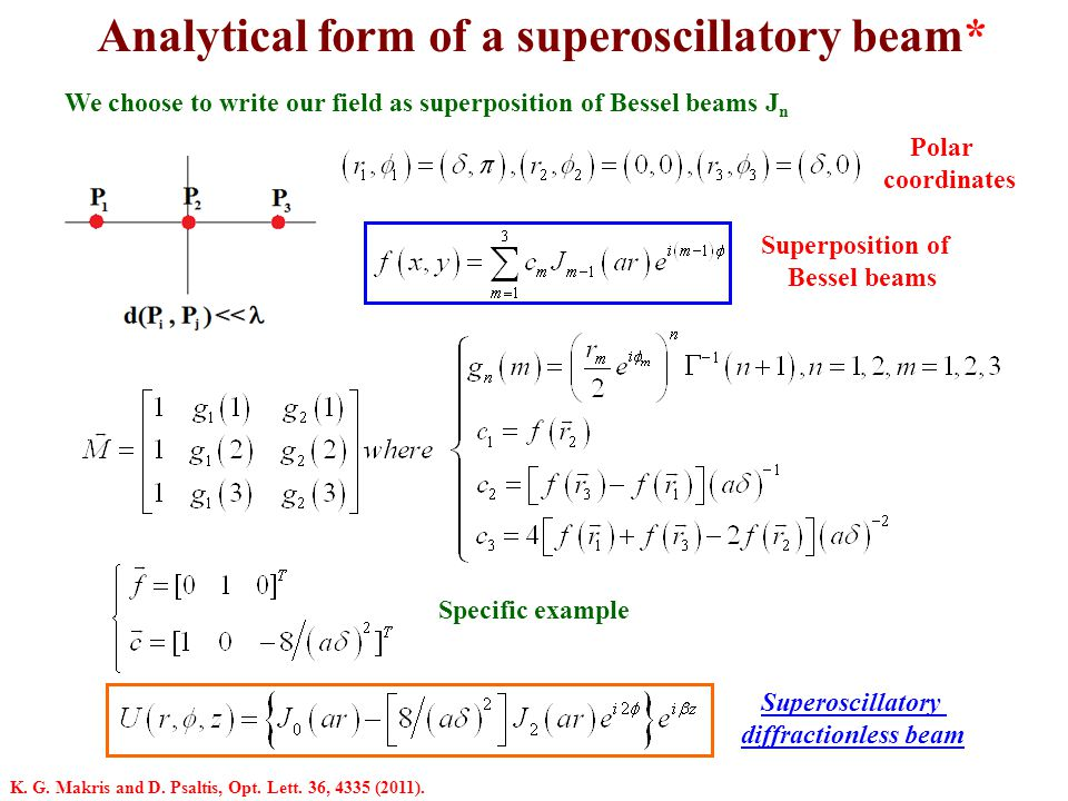Analytical form of a superoscillatory beam*