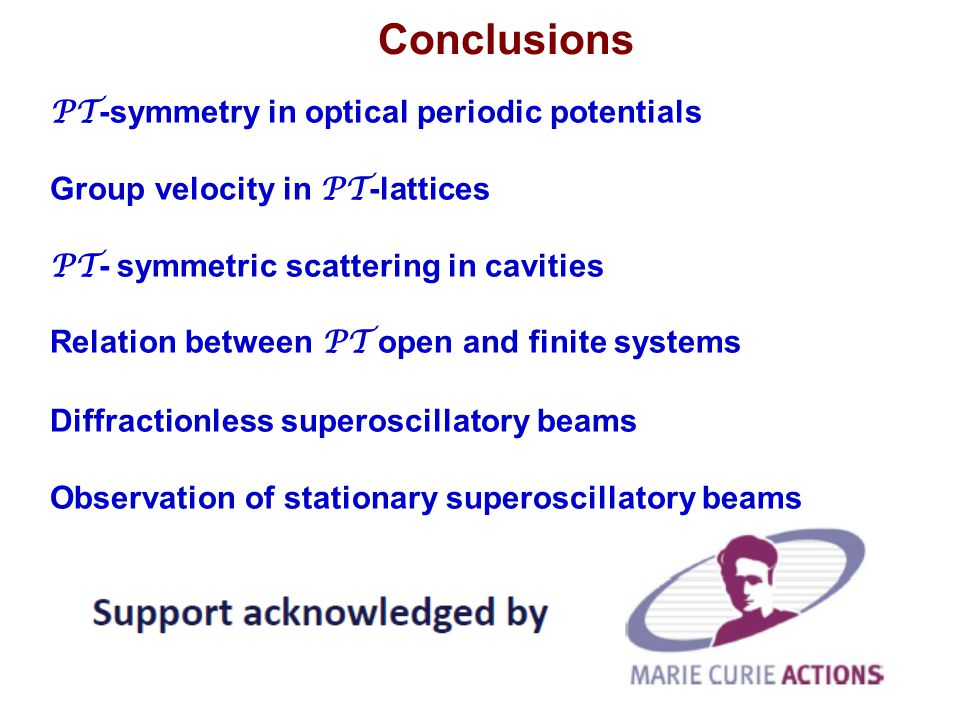 Conclusions PT-symmetry in optical periodic potentials