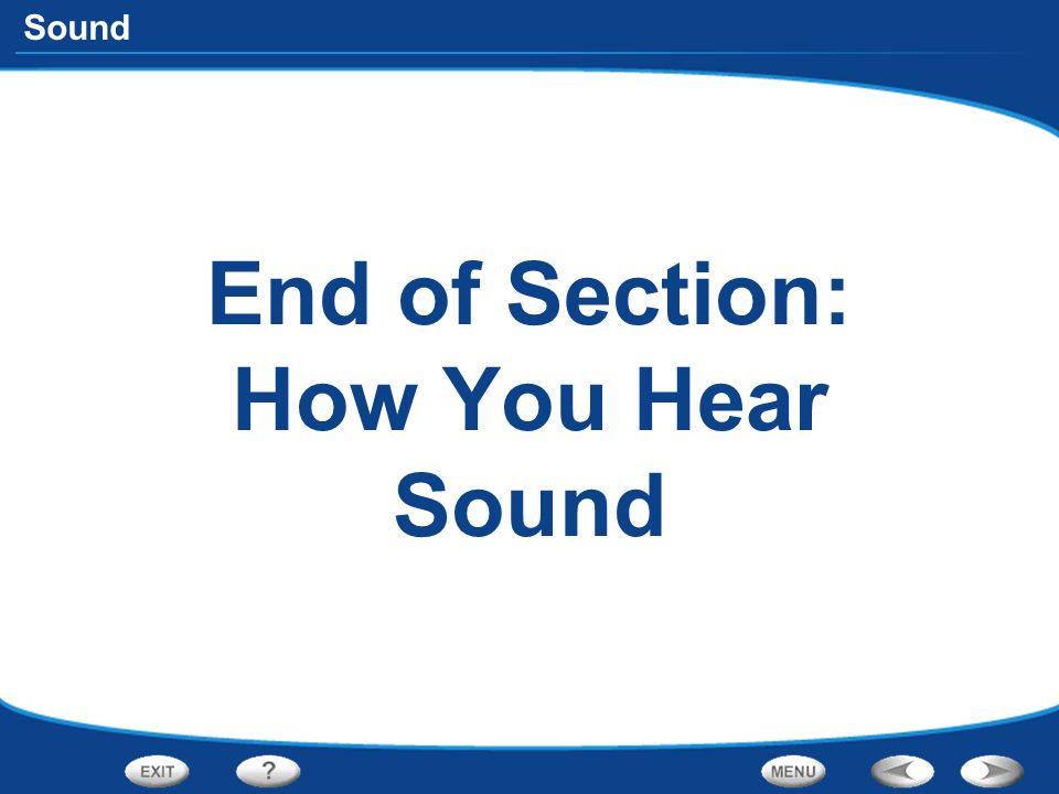 End of Section: How You Hear Sound