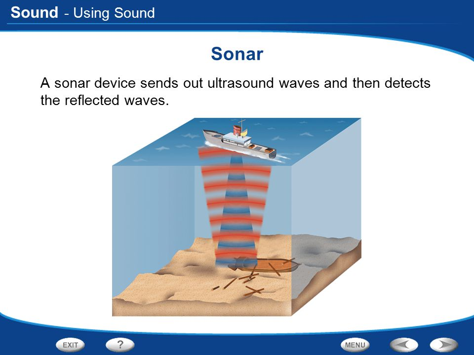 - Using Sound Sonar A sonar device sends out ultrasound waves and then detects the reflected waves.