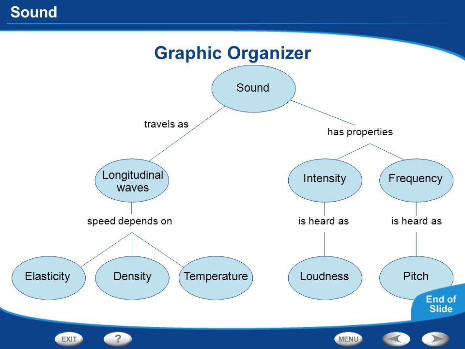 Graphic Organizer Sound Longitudinal waves Intensity Frequency
