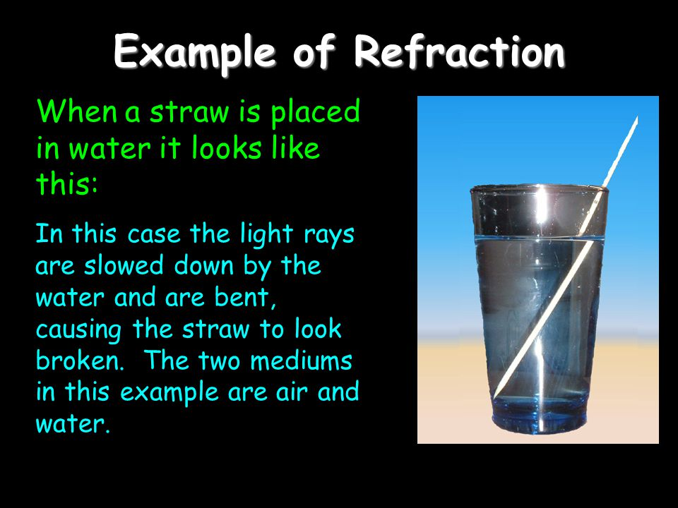 Example of Refraction When a straw is placed in water it looks like this:
