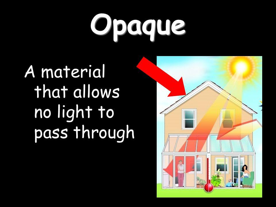 Opaque A material that allows no light to pass through