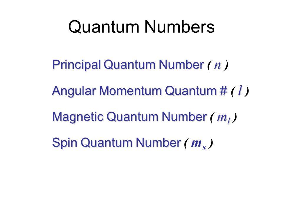 Quantum Numbers Principal Quantum Number ( n )