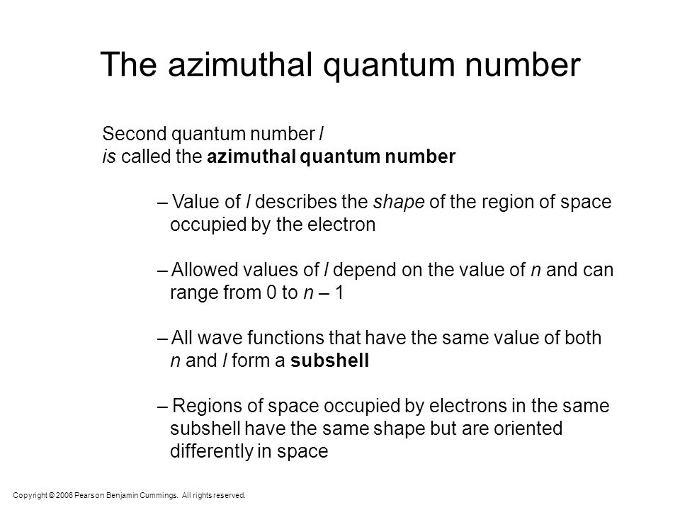 The azimuthal quantum number