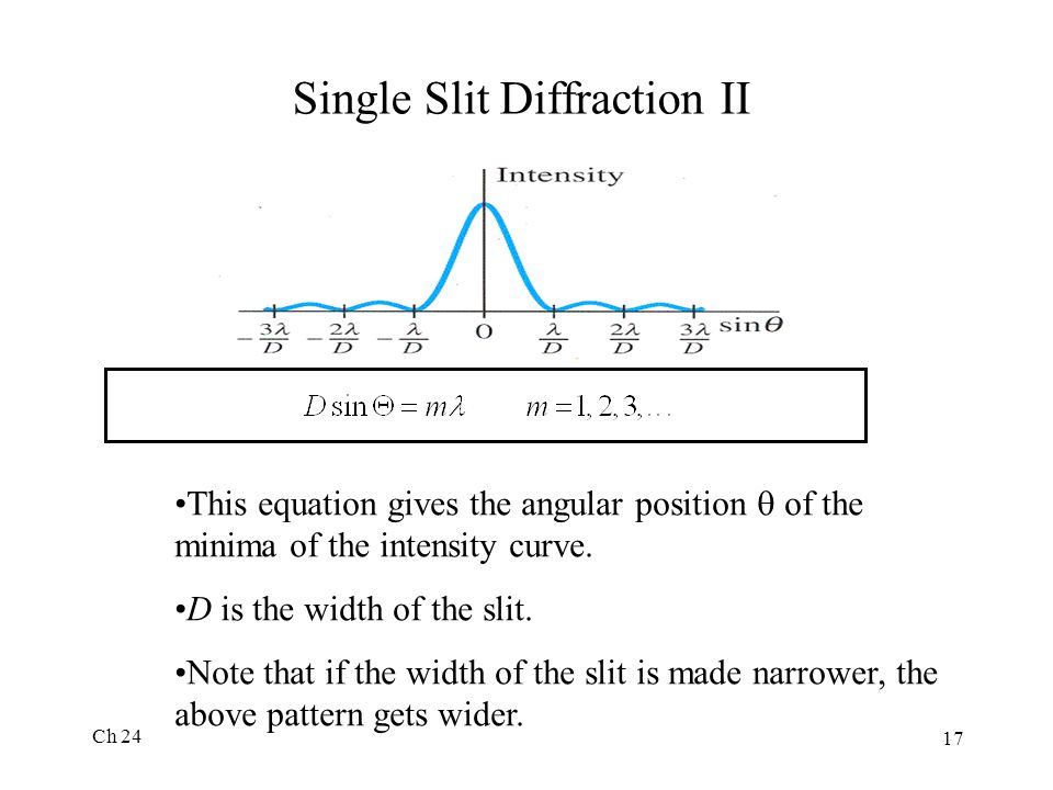 Single Slit Diffraction II