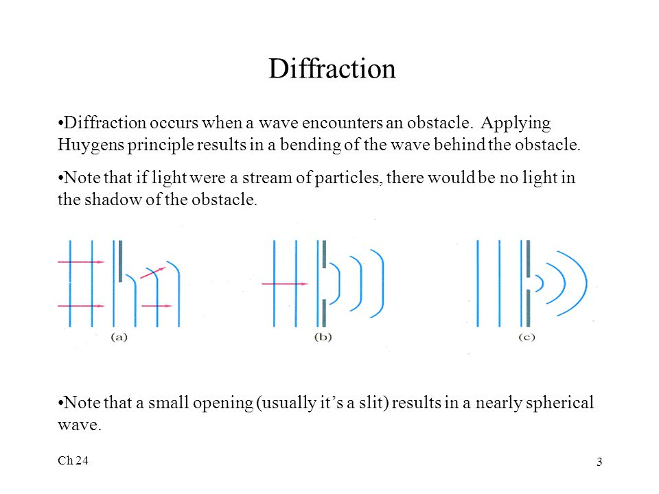 Diffraction Diffraction occurs when a wave encounters an obstacle. Applying Huygens principle results in a bending of the wave behind the obstacle.
