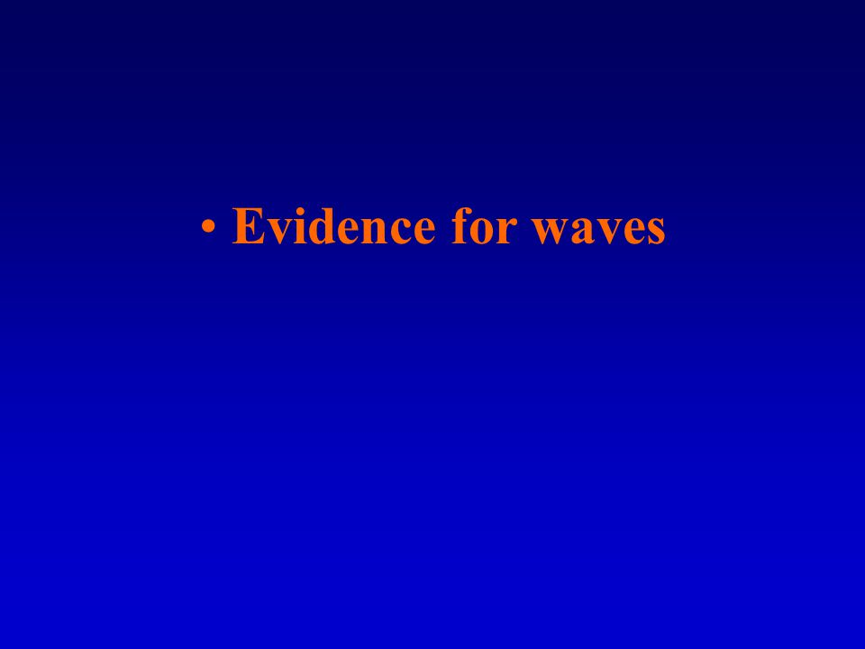 Evidence for waves