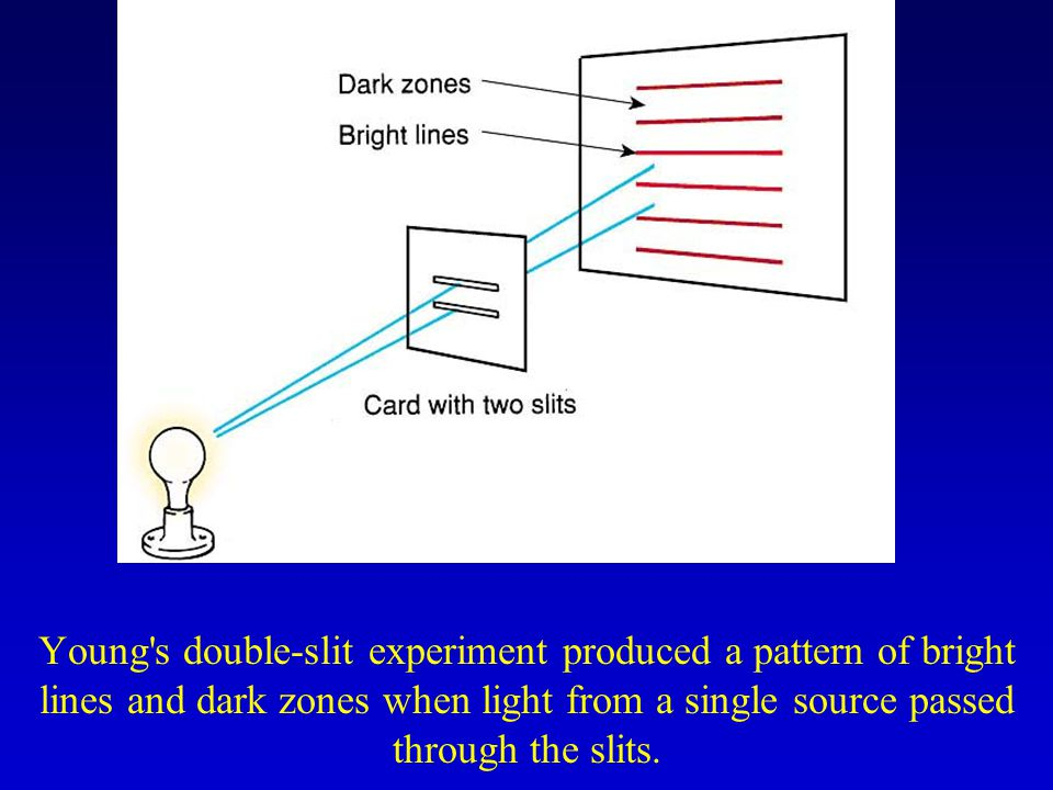 Young s double-slit experiment produced a pattern of bright lines and dark zones when light from a single source passed through the slits.