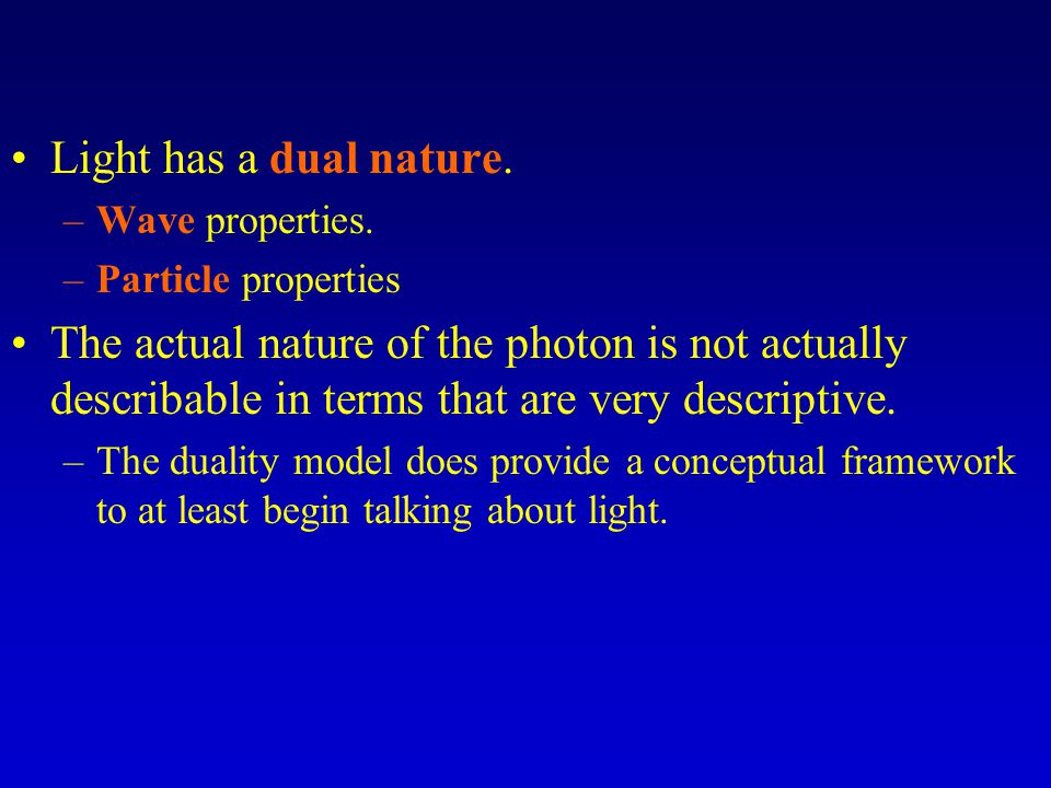 Light has a dual nature. Wave properties. Particle properties.