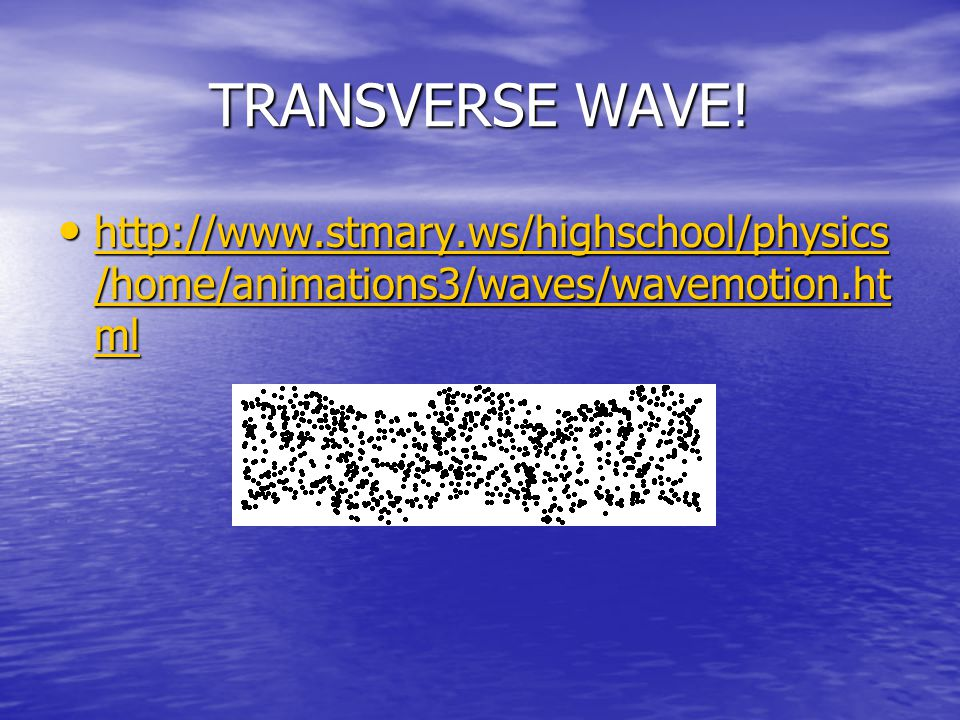 TRANSVERSE WAVE! http://www.stmary.ws/highschool/physics/home/animations3/waves/wavemotion.html