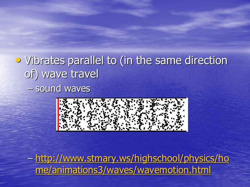 Vibrates parallel to (in the same direction of) wave travel