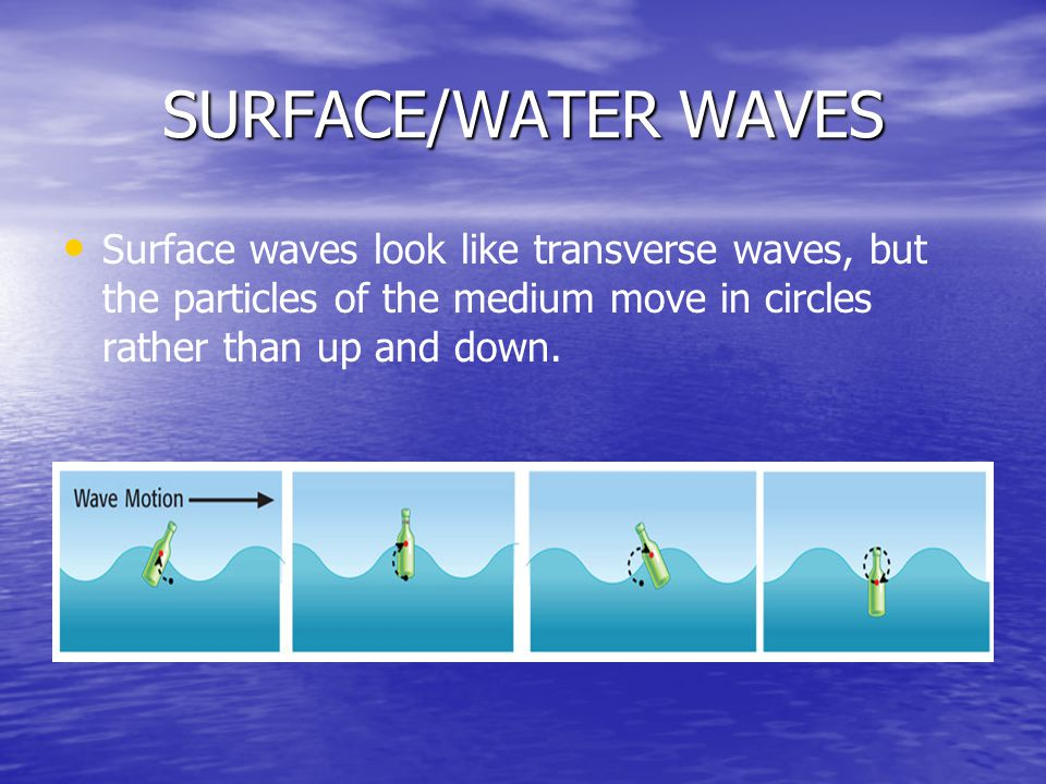 SURFACE/WATER WAVES Surface waves look like transverse waves, but the particles of the medium move in circles rather than up and down.