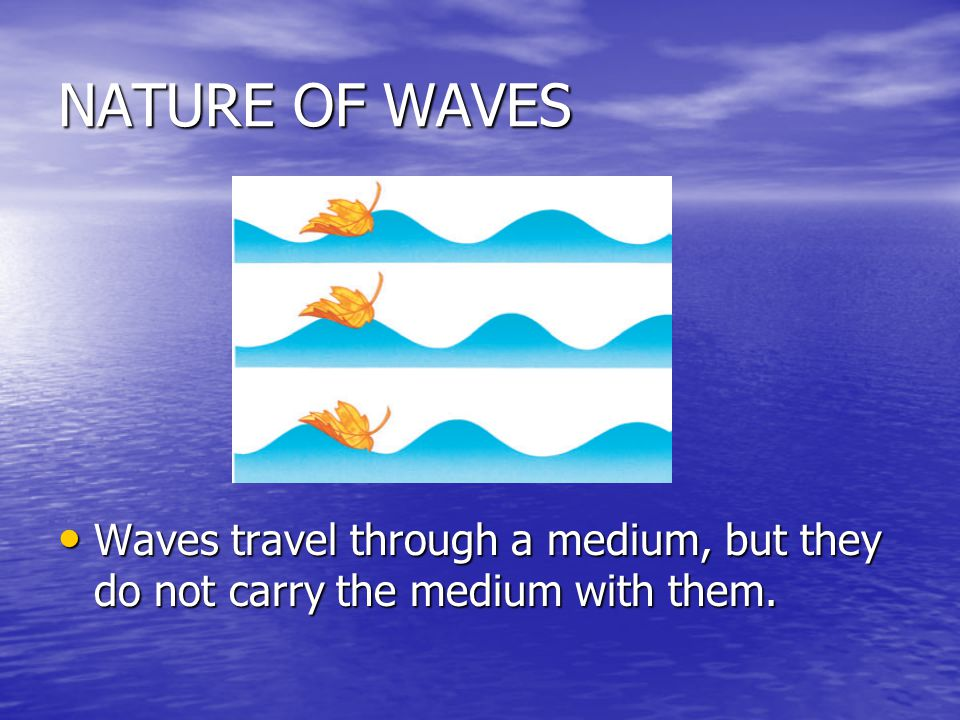 NATURE OF WAVES Waves travel through a medium, but they do not carry the medium with them.