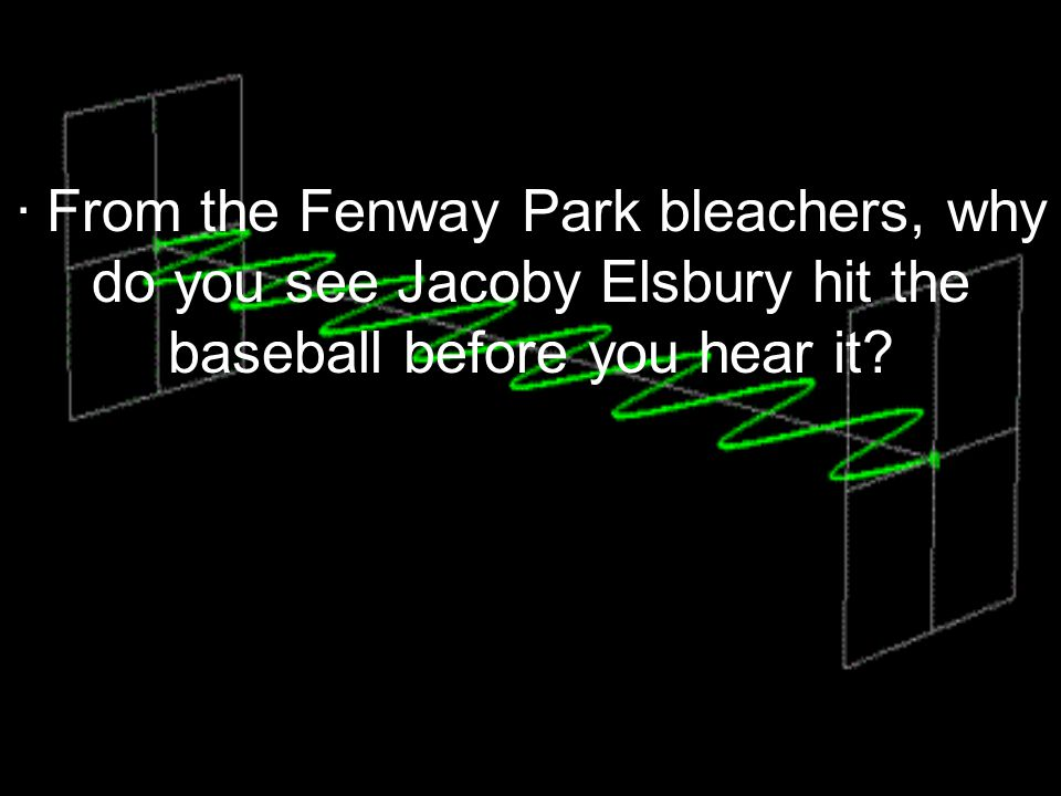 · From the Fenway Park bleachers, why do you see Jacoby Elsbury hit the baseball before you hear it