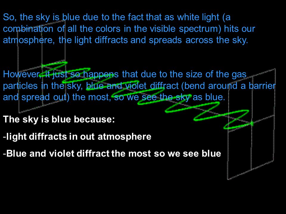 So, the sky is blue due to the fact that as white light (a combination of all the colors in the visible spectrum) hits our atmosphere, the light diffracts and spreads across the sky.