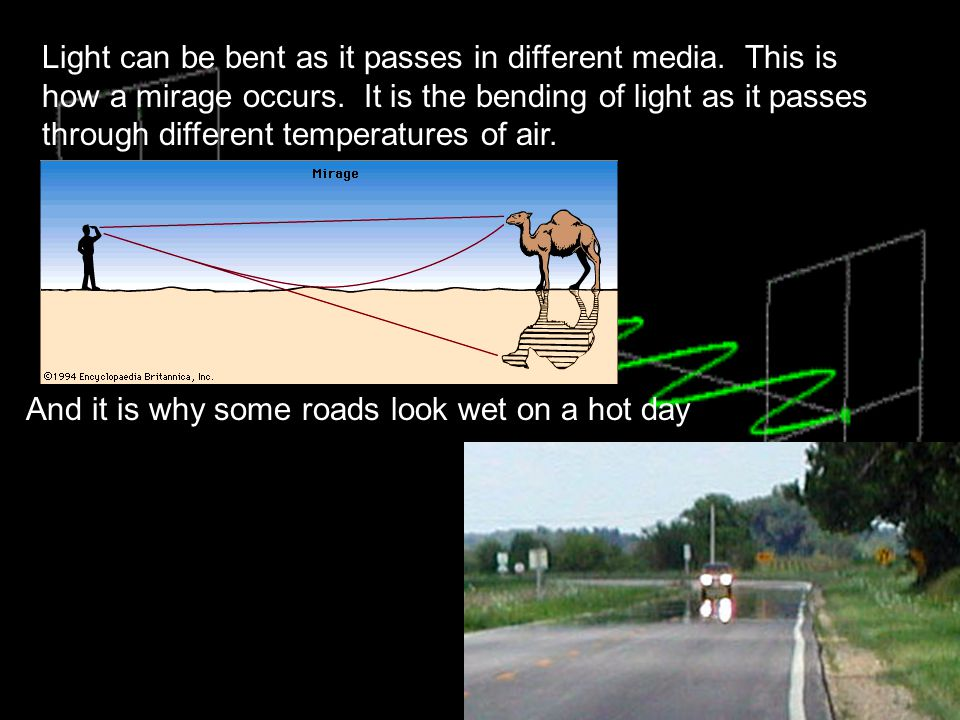 Light can be bent as it passes in different media
