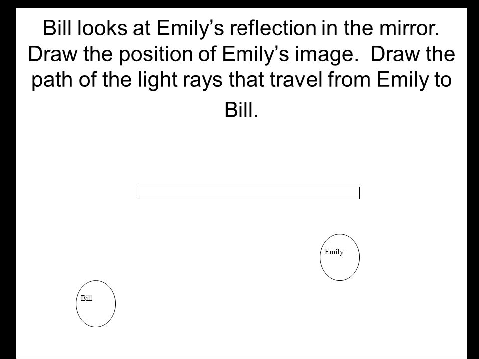Bill looks at Emily's reflection in the mirror