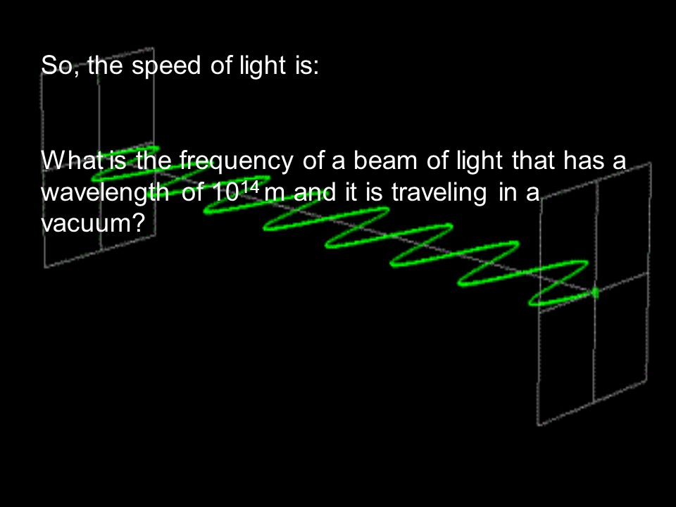 So, the speed of light is: