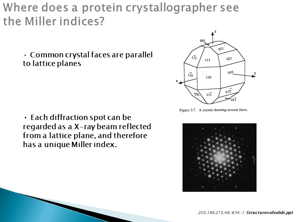 Where does a protein crystallographer see the Miller indices