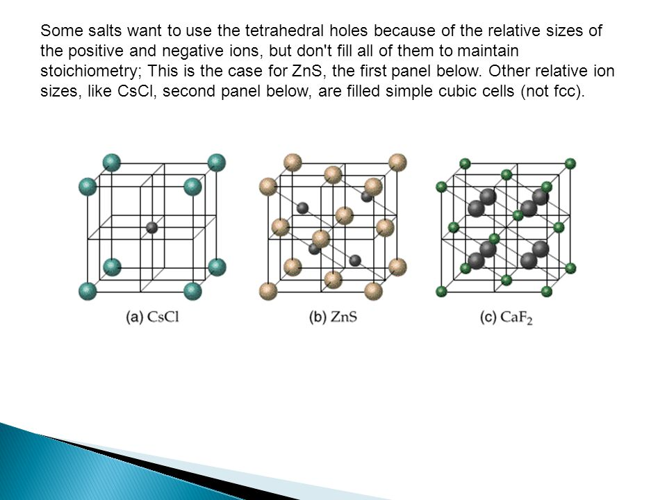 Some salts want to use the tetrahedral holes because of the relative sizes of the positive and negative ions, but don t fill all of them to maintain stoichiometry; This is the case for ZnS, the first panel below.
