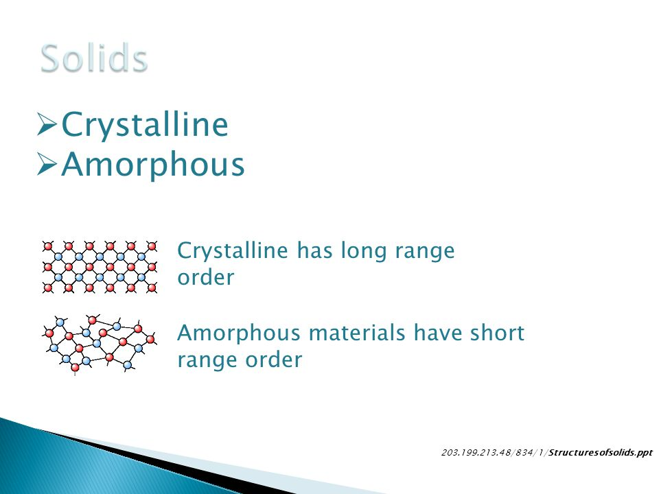 Solids Crystalline Amorphous Crystalline has long range order