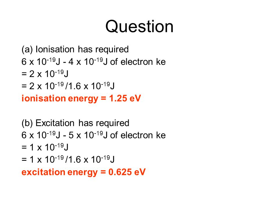 Question (a) Ionisation has required