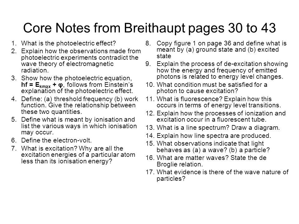 Core Notes from Breithaupt pages 30 to 43