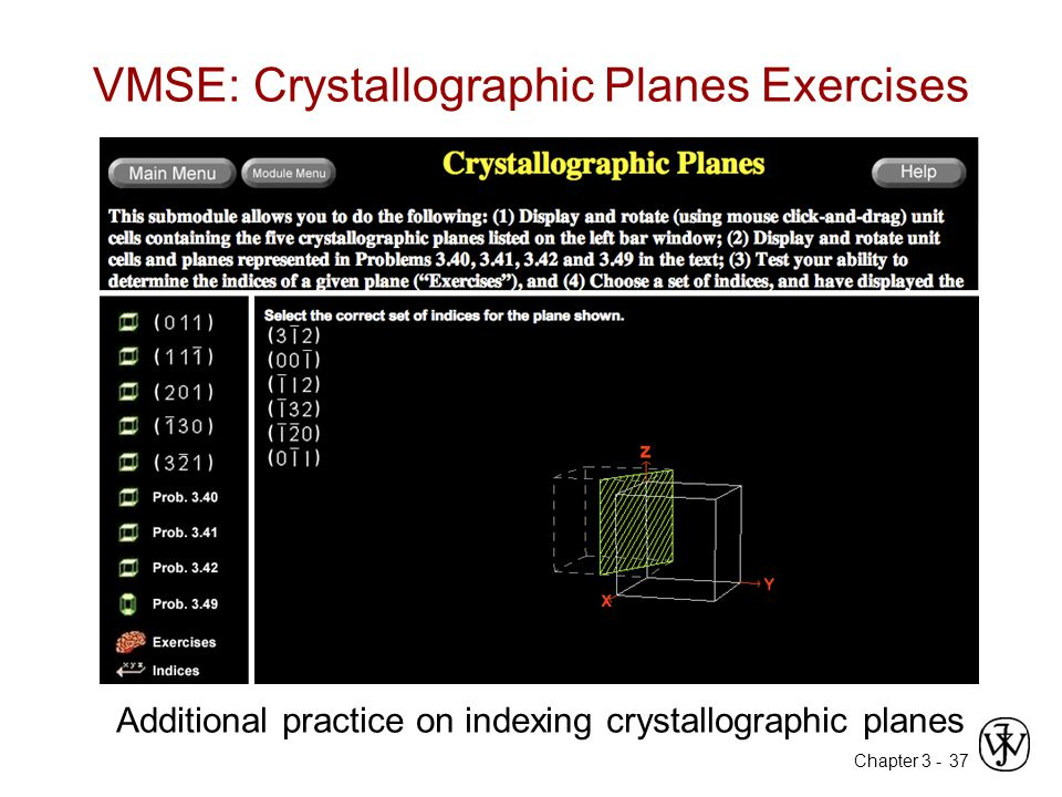 VMSE: Crystallographic Planes Exercises